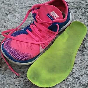 Nike Free 4.0 Flyknit pink blue shoes